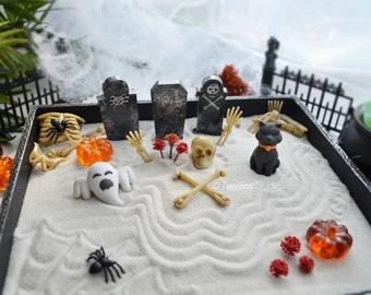Halloween Zen Garden Spooky Decor Black Cat Ghost Skeleton Bones Cemetery Haunted Fairy Garden Gift for Him Desk Accessory Graveyard Gothic