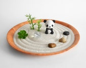 SHIPS MAY 3rd - Panda Mini Zen Garden Lucky Bamboo Sand Garden Kawaii Animal DIY Kit Fidget Toy Gifts Under 20 Cubicle Decor