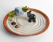 Lucky Elephant Mini Zen Garden Calming Blue Calcite Carved Onyx Gemstone Animal Feng Shui Housewarming Gift Meditation Desk Accessory