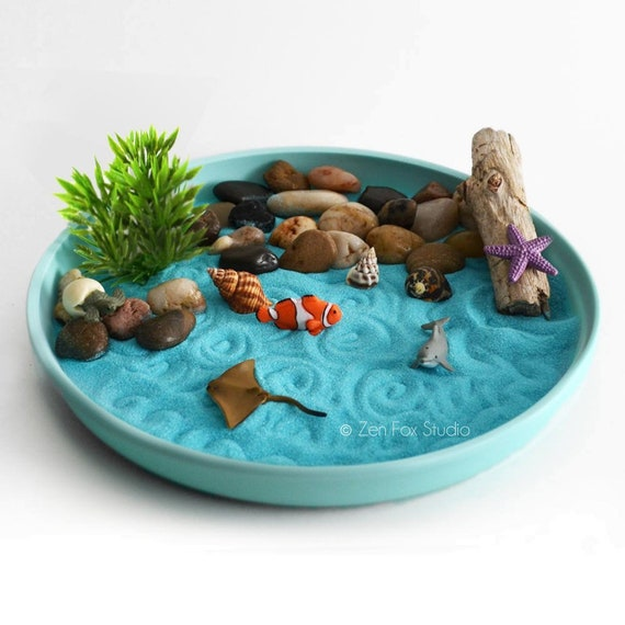 Mini Zen Garden Ocean Sand Garden Desk Accessory Diy Kit Driftwood Beach Tabletop Decor Sand Art Meditation Fidget Toy