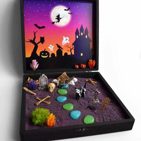 Halloween Zen Garden Box Sugar Skull Cat Lover Gift Day Of The Dead Spooky Cemetery Wiccan Altar Haunted Fairy Garden Skeleton