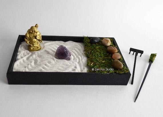 Ufficio Zen Garden : Mini zen garden laughing buddha statue desk accessory etsy
