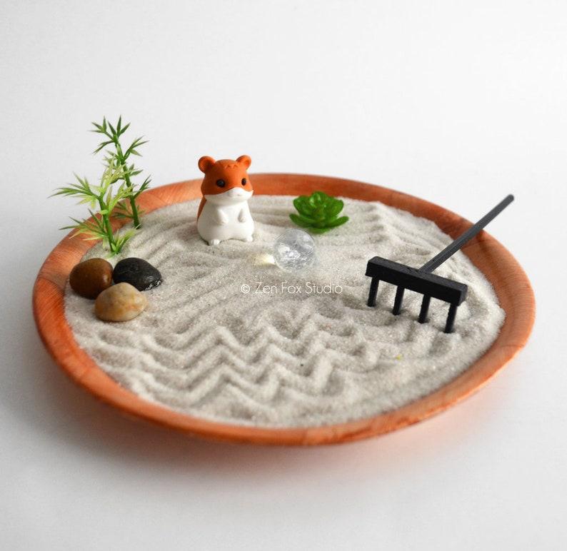 Mini Zen Garden Kawaii Hamster Animal Fairy Garden Sand Garden Diy Kit Fidget Toy Gifts Under 20 Cubicle Decor Coworker Gift