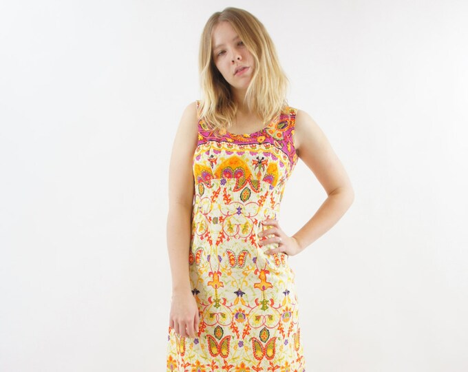 Psychedelic Maxi Dress Floor Length Colorful Women's Cotton Dress Large Pattern Butterfly Boho Hippie Size Small / Medium