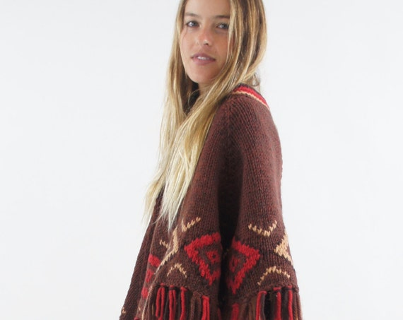 1970's Vintage Brown Knit Pullover Boho Poncho Hippie Cape Festival Sweater Diamond Pattern One Size