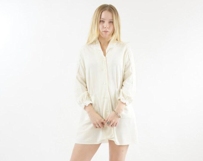 Cream Lace 60s Women's Long Sleeve Dress Button Down Shirt Medium Large