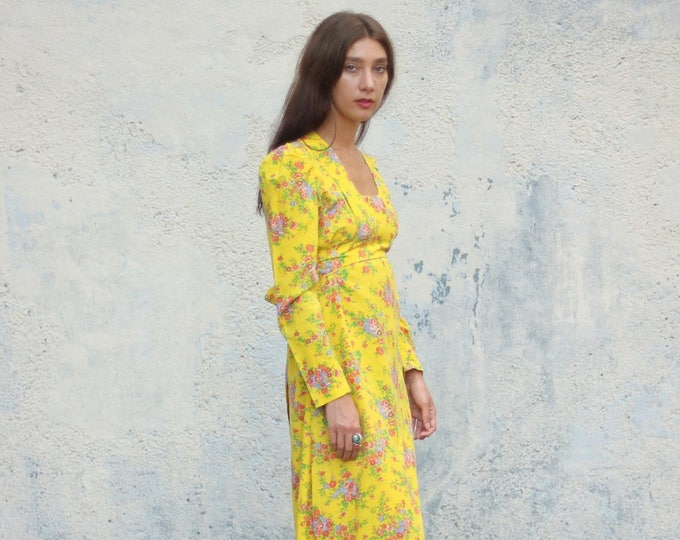 Vintage Bright Yellow Floral Large Extra Large Maxi Dress Handmade with Empire Waist