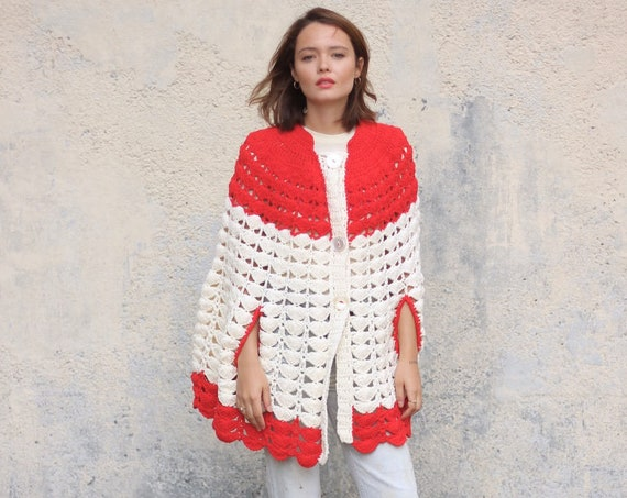 70's Crocheted Cape Poncho Psychedelic Red White Button Down Sweater Handmade One Size