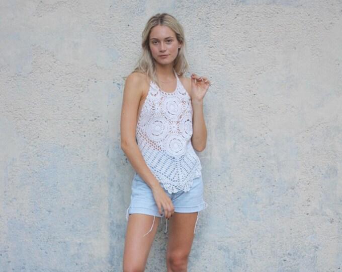 70's Halter Top Crocheted Women's White Hippie Boho Shirt Summer Festival Swimsuit Top