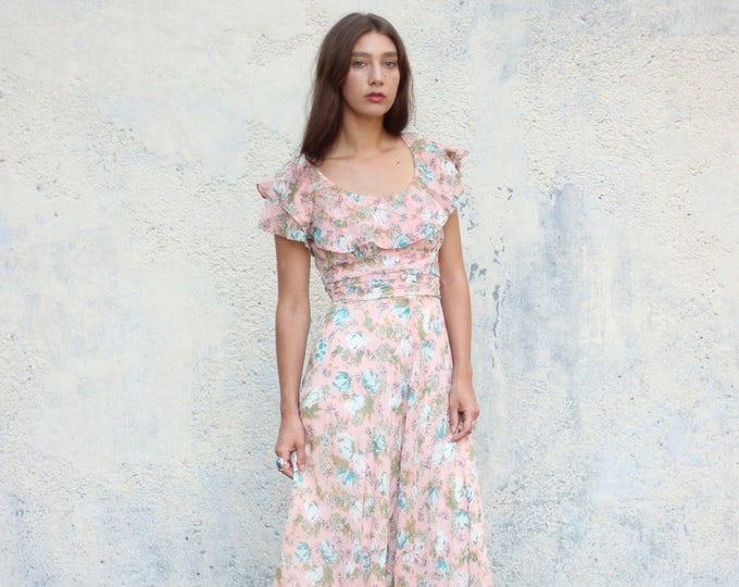 INCREDIBLE Floral Print Ruffle Sleeve 50s Light Pink Maxi Dress Handmade Medium