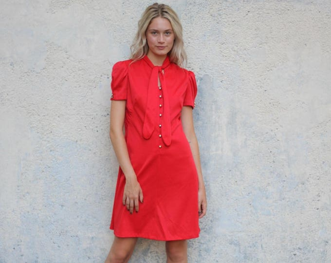 Vintage 60s Bright Red Short Sleeve Pin Up Dress with Shiny Buttons and Neck Tie Women's Small Medium