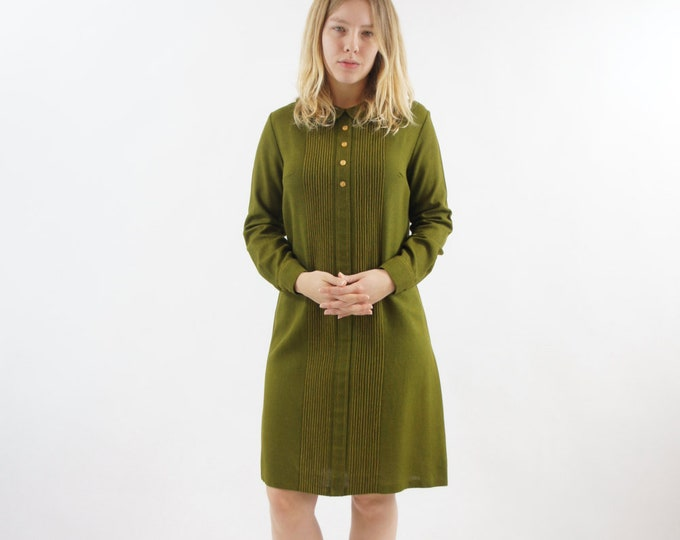 Olive Green Mod 60s Vintage Dress Tag Size 15/16 Large Extra Large Army Green Long Sleeve