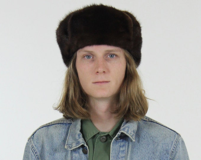 Dark Brown Fur Bomber Hat Mink Suede Leather Trapper Hat with Earflaps Size Medium