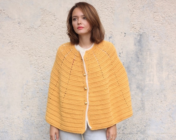 Yellow 70's Cape Handmade Sweater Poncho with Gold Buttons Vintage One Size