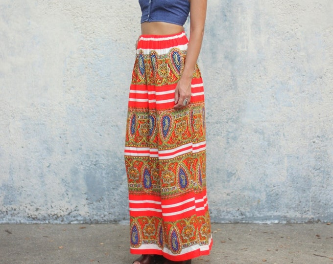Psychedelic Paisley Striped Skirt Women's Hand Made Floor Length Vintage Maxi Size Small / Medium