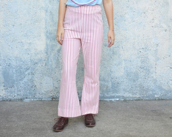 Striped Bell Bottoms 70's High Waisted Red White Candy Cane Striped Vintage Pants Trousers Size Small