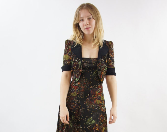 Floral Sexy Strapless Summer 2 Piece Dress Blouse Patterned Dark Blouse Button Top Floor Length Vintage Size Small Medium / Size 5