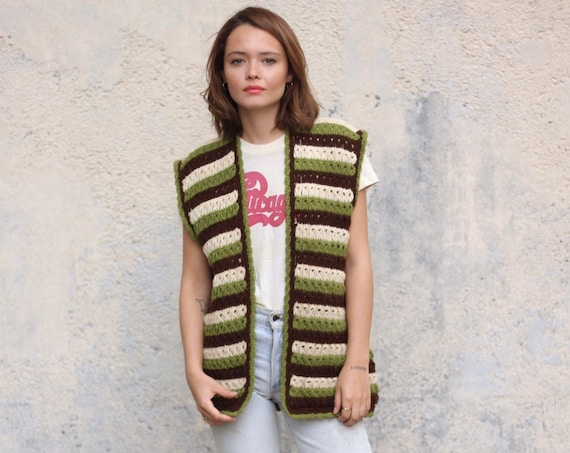 70's Handmade Crocheted Sweater Vest Striped Brown Green Soft Knit Vintage Size Medium Large