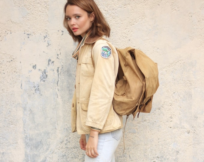Boy Scouts GIRL Scouts Vintage Unique Rare Camping Backpack Feminist Khaki Bag Carry On Travel Bag