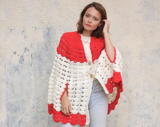 70s Crocheted Psychedelic Red White Button Down Cardigan Cape Handmade Poncho Boho Shawl Knit Sweater Throw Vintage