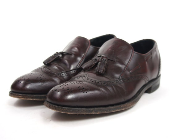 Men's Maroon Leather Shoes Size 9.5 Wing-tip Tassel Slip On Dress Shoes Loafers Vintage