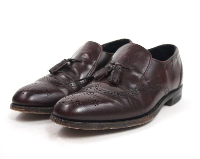 Maroon Leather Wingtip Tassel Slip On Dress Shoes Loafers Men's Vintage Size 9.5