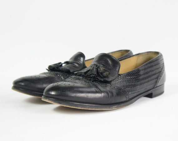 Black Woven Leather Loafers Men's 11.5 Tassels Woven Black Leather Vintage Dress Shoes