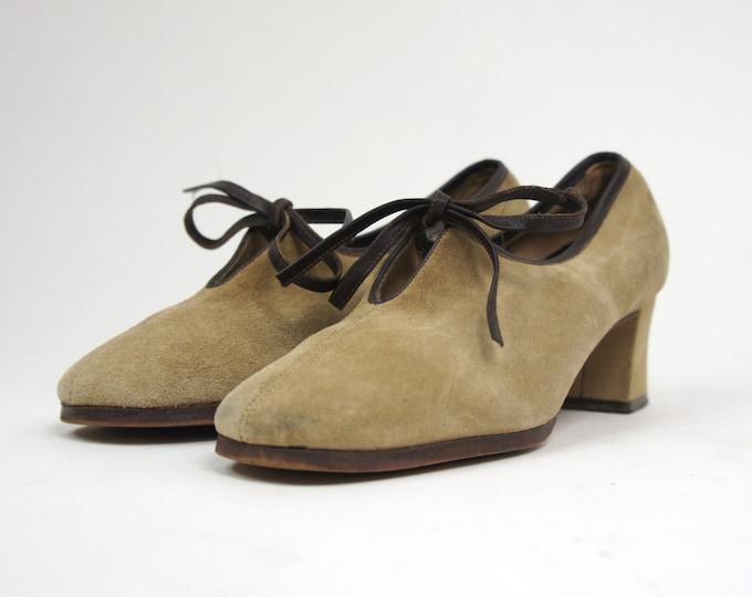 Brown Suede 60s Mod Secretary Heels Women's Leather Pumps Vintage Women's Size 6 Lace Up Shoes