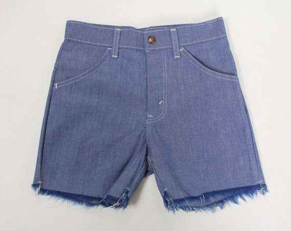 70s Frayed Shorts Small Denim Vintage Deadstock Cutoff Metal Zipper 24 Waist Extra Small