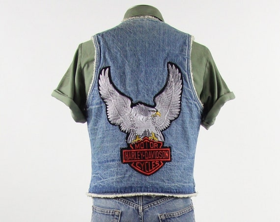 Harley Davidson Levi's Vest 70's Orange Tab Faux Sherpa Lined Denim Vest Size Medium