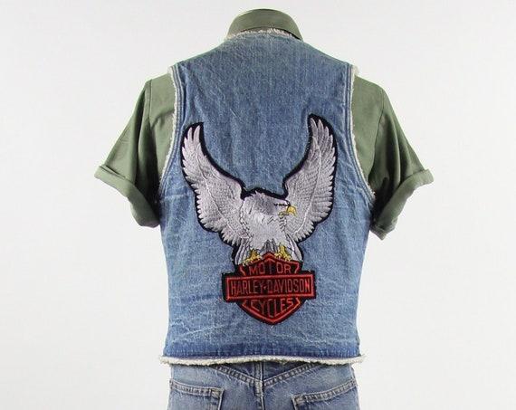 Harley Davidson Levi's Vest 70's Orange Tab Faux Sherpa Lined Denim Vest Size Medium