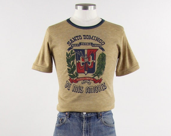 Santo Domingo Dominican Republic Shirt 70's Brown and Blue Ringer Tee Shirt Size Small