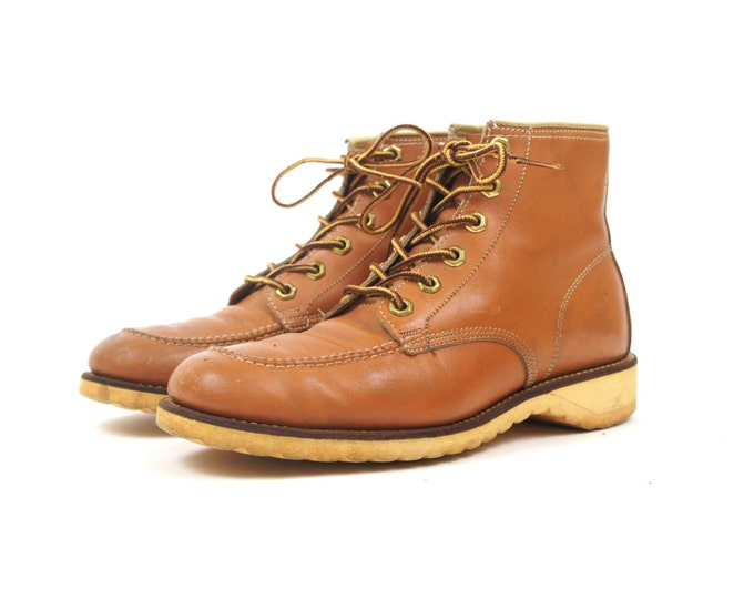 70s Work Boots Steel Toe Light Brown Leather Lace Up Boots Vintage Men's Size 7.5 8 Women's 9.5 10