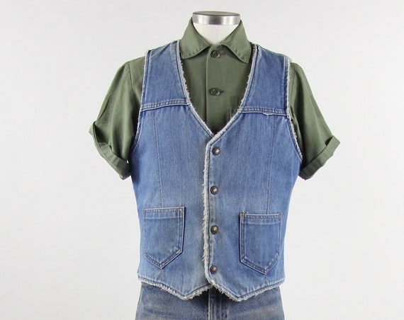 Vintage Denim Vest Faux Sherpa Lined Washed Out Soft Warm Cotton Jean Men's Size Medium M