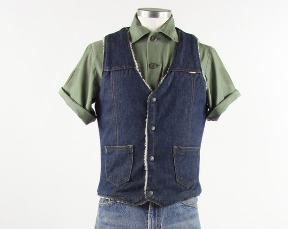 Vintage Dark Wash Denim Sherpa Vest 70s Vintage Snap Button Vest Size Small