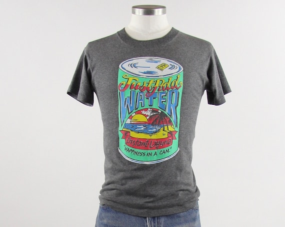 """90's Soft Grey """"Just Add Water"""" LAGUNA Brand T-Shirt / Tee Shirt Vintage Size Small Made in USA"""