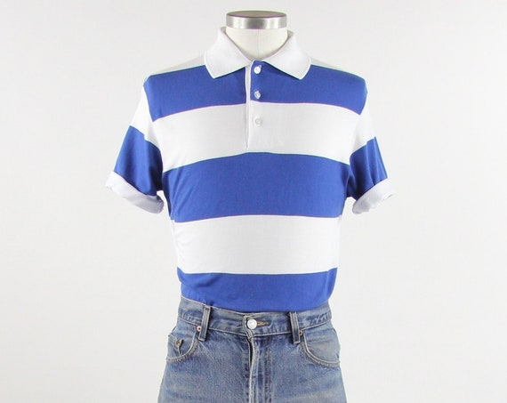 Blue and White Striped Men's Polo Collared Shirt Vintage Size Medium