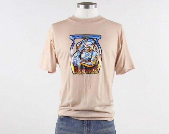"Aquarius Zodiac T-shirt 70's Iron On ""Water Bearer"" Tan Vintage T-shirt Shirt Size Small Medium"