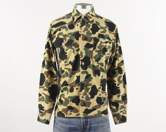 50's Camouflage Hunting Shirt Cotton Long Sleeve Men's Shirt Vintage Size Medium