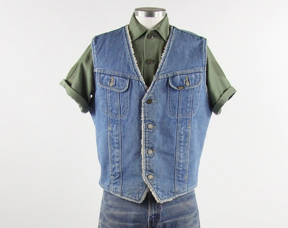 Lee Rider 70's Denim Vest Sherpa Lined Button Up Jean Vest Vintage Size Medium Large Made in the USA