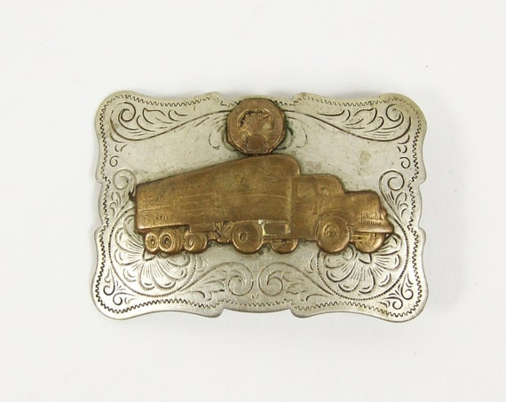 Big Rig Trucker Belt Buckle Made in USA / Made of Nickel Silver / Chambers Belt Co.