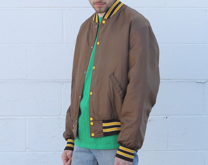 Brown Coach's Coach Jacket with Yellow DetailSnap Button Quilted Lining Men's Size Large Made in the USA