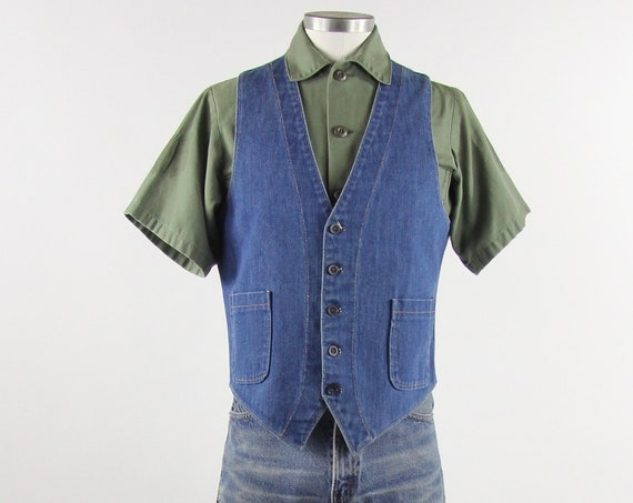 Denim Vintage Vest Men's Button Down Jean Vest Size Medium Large