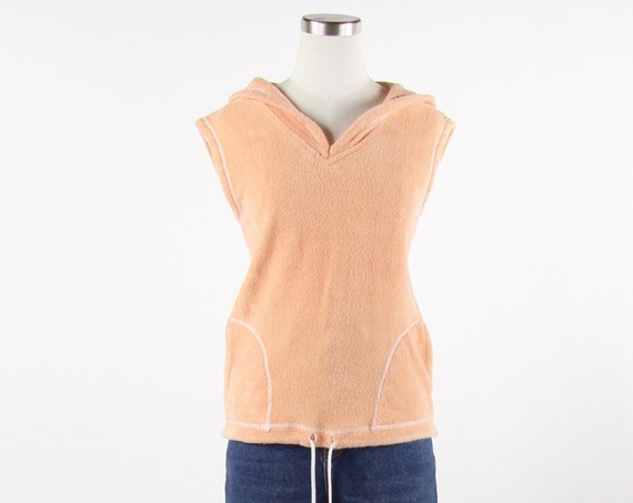 80's Peach Terry Cloth Women's Summer Blouse Beach Cover Size Medium