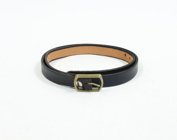 Thin Black Belt with Small Gold Buckle Vintage Men's Size 39 - 43