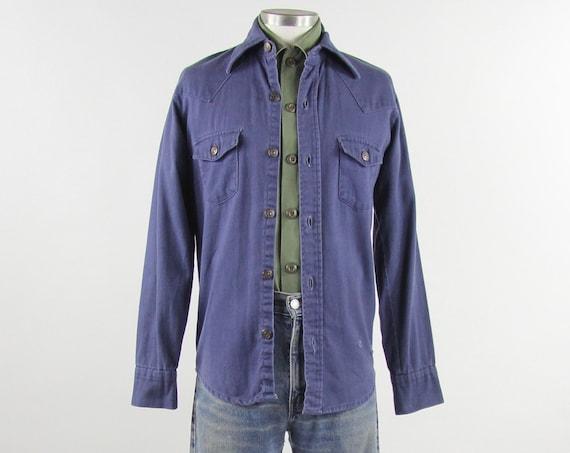 60's Work Shirt Button Down Men's Vintage Cotton Denim Shirt Size Medium