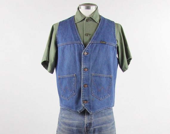 70's Wrangler Vest Vintage Denim Blue Jean Vest Size Medium