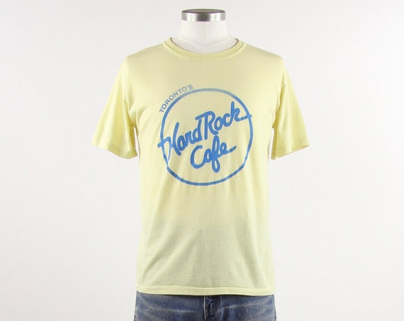 Toronto Hard Rock Cafe Tee Shirt Vintage Yellow Faded Thin Soft 70s Tee Shirt Size Small Medium