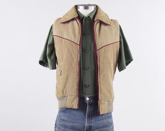 Men's 70's Ski Vest Corduroy Maroon Khaki Winter Puffer Ski Vest Size Small