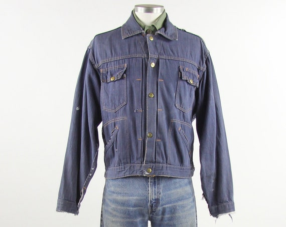Vintage ELY Jean Jacket Distressed Selvedge Denim Jacket Size M Medium